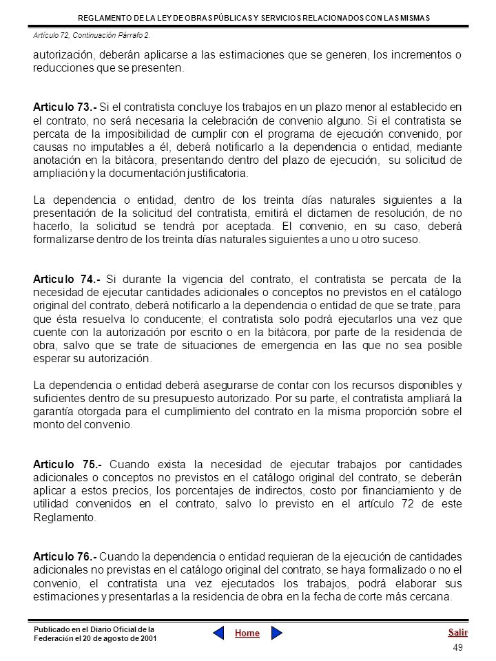 Artículo 72, Continuación Párrafo 2.