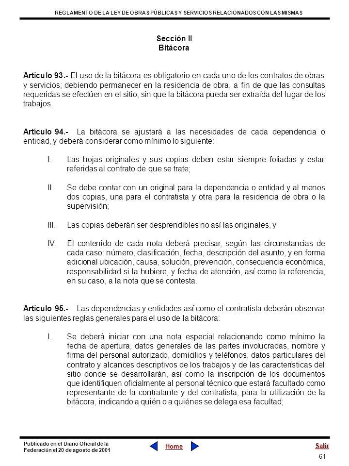 Sección IIBitácora.