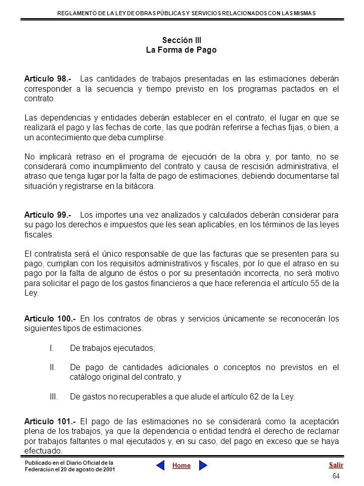 Sección III La Forma de Pago.