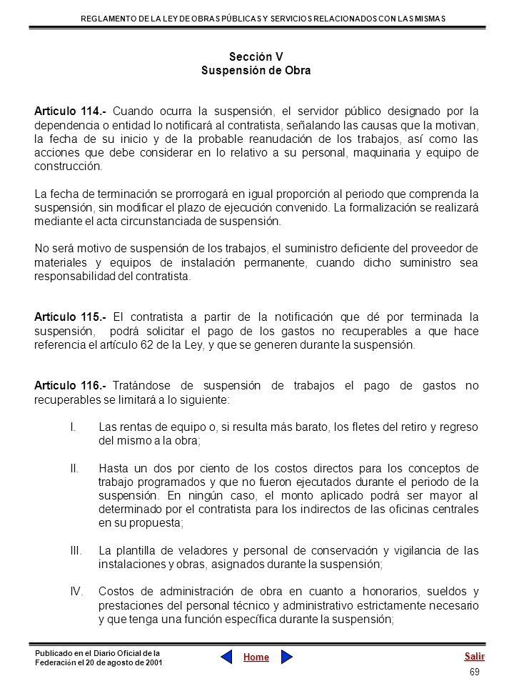 Sección V Suspensión de Obra.