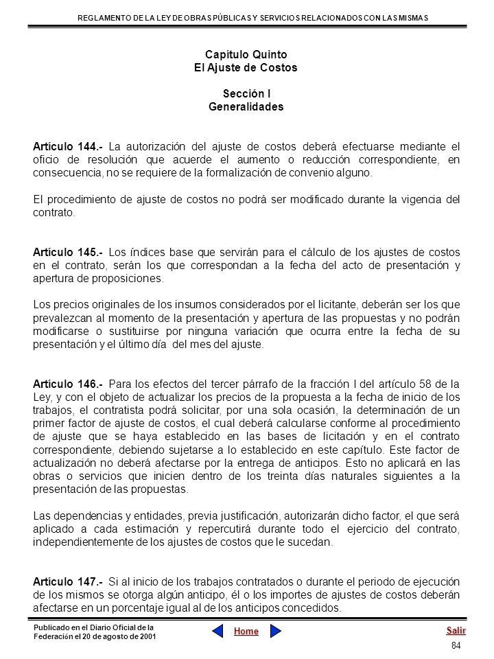 Capítulo QuintoEl Ajuste de Costos. Sección I. Generalidades.