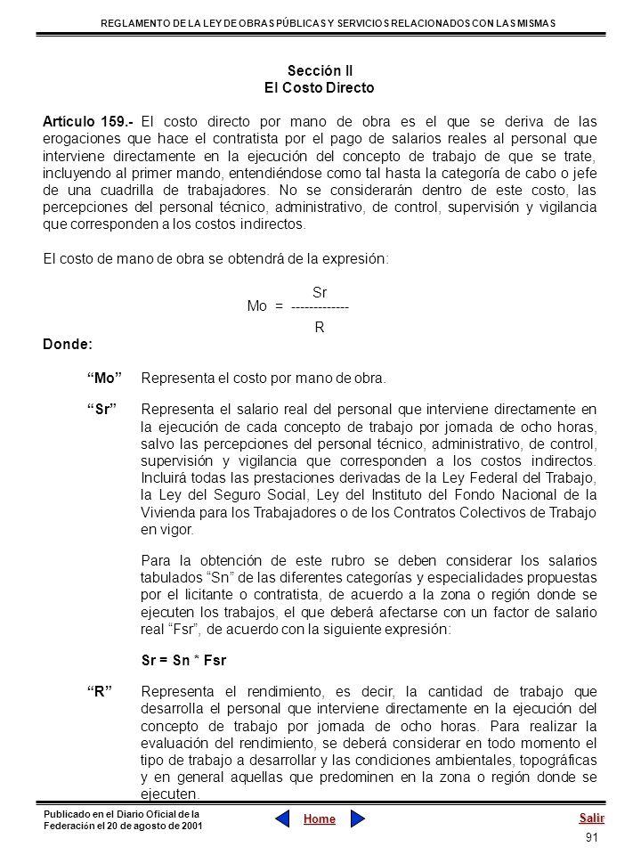 Sección II El Costo Directo.