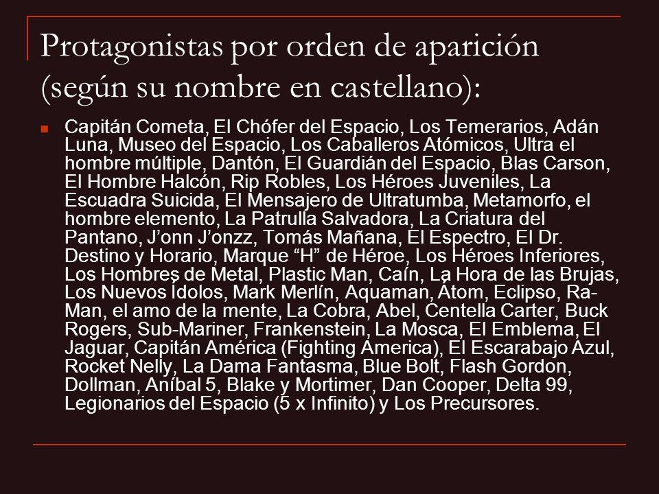 Protagonistas por orden de aparición (según su nombre en castellano):