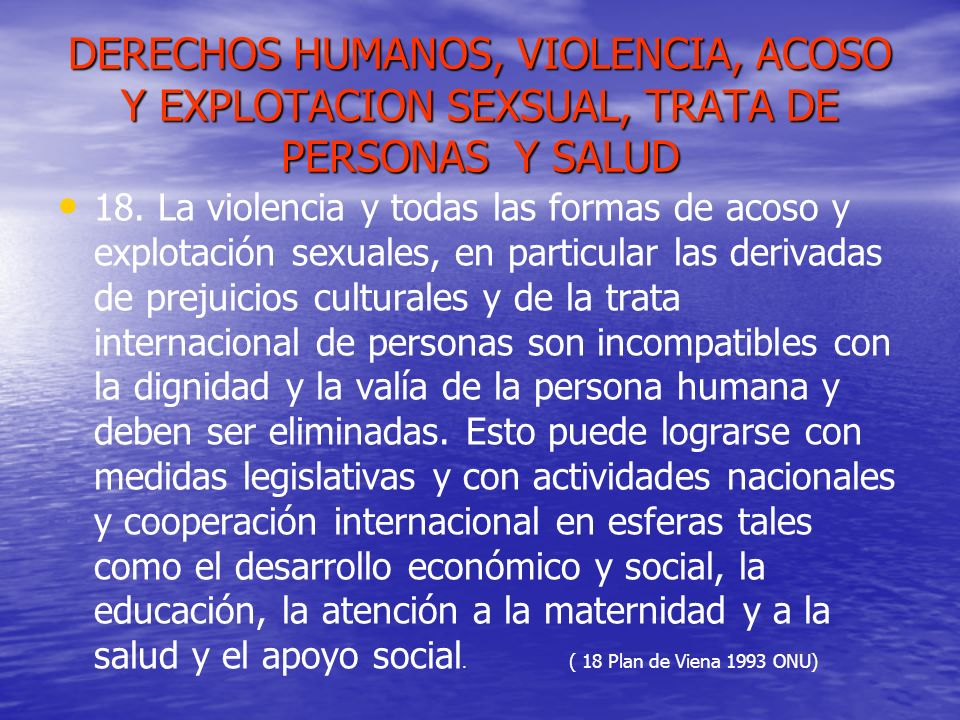 DERECHOS HUMANOS, VIOLENCIA, ACOSO Y EXPLOTACION SEXSUAL, TRATA DE PERSONAS Y SALUD