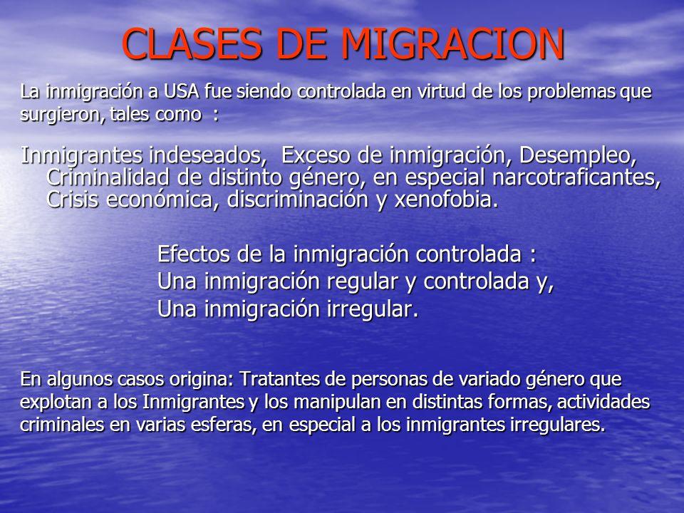 CLASES DE MIGRACION La inmigración a USA fue siendo controlada en virtud de los problemas que. surgieron, tales como :