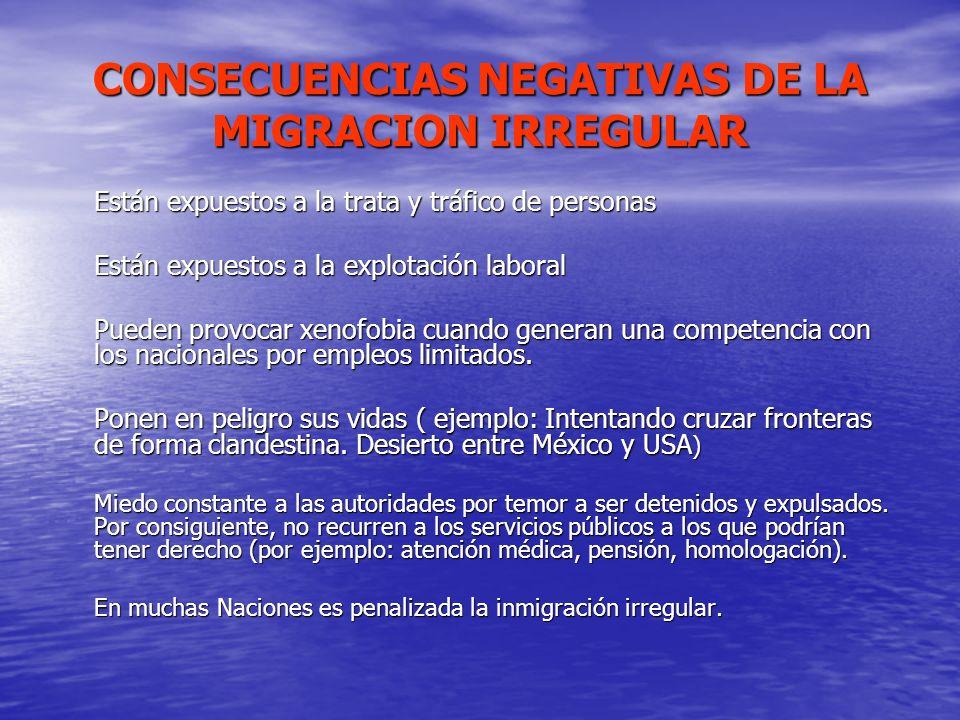 CONSECUENCIAS NEGATIVAS DE LA MIGRACION IRREGULAR