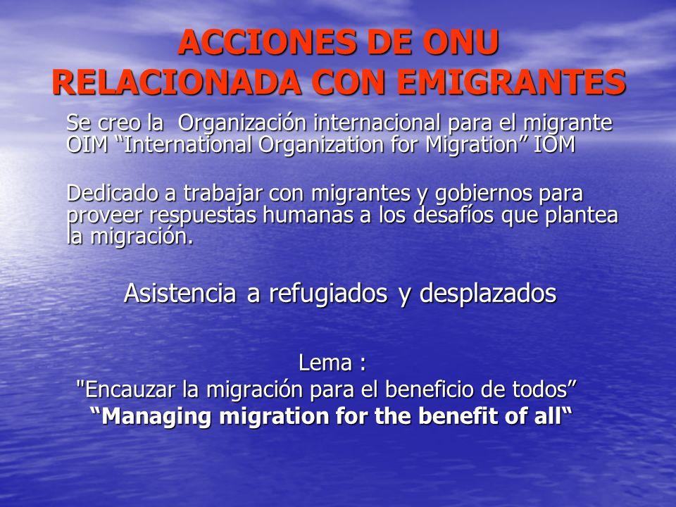 ACCIONES DE ONU RELACIONADA CON EMIGRANTES