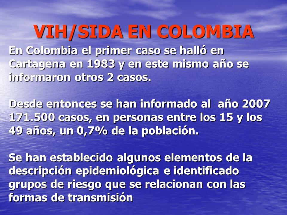 VIH/SIDA EN COLOMBIA En Colombia el primer caso se halló en