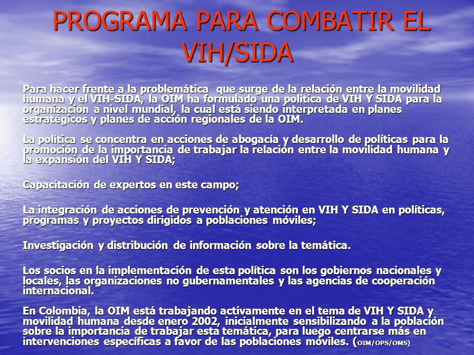 PROGRAMA PARA COMBATIR EL VIH/SIDA