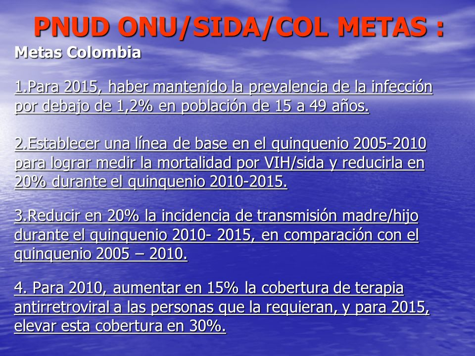 PNUD ONU/SIDA/COL METAS :