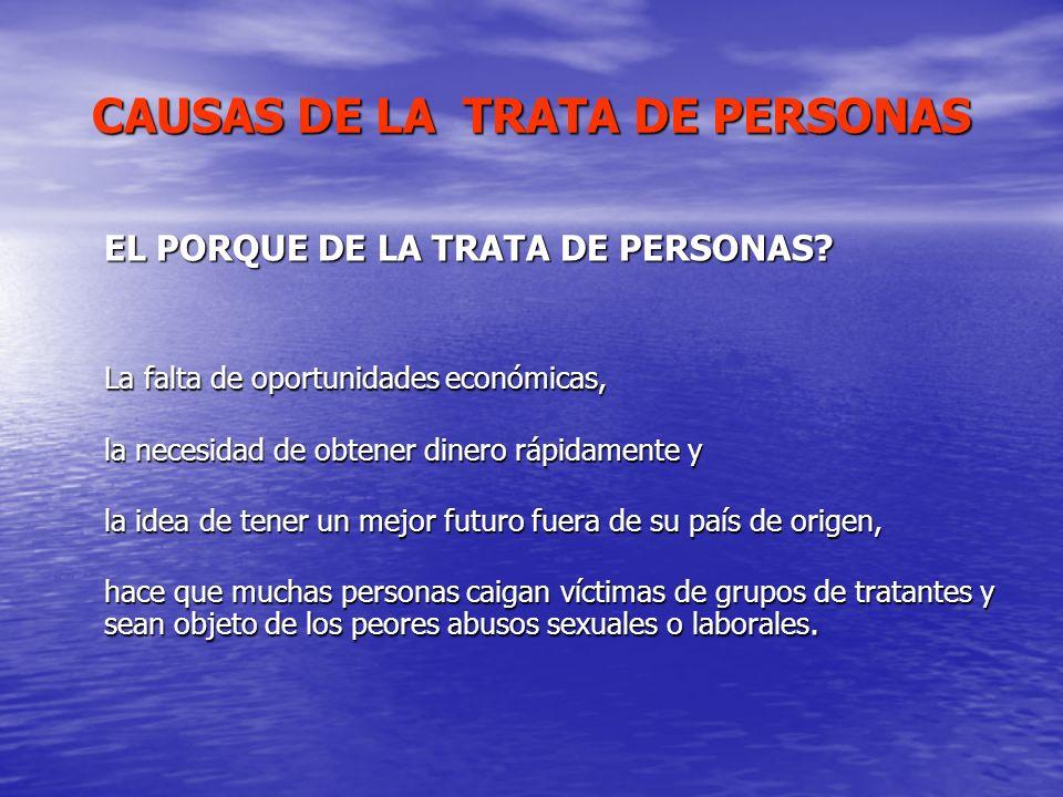 CAUSAS DE LA TRATA DE PERSONAS