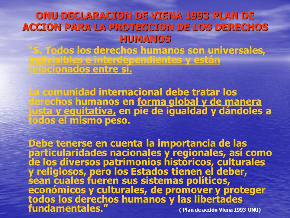ONU DECLARACION DE VIENA 1993 PLAN DE ACCION PARA LA PROTECCION DE LOS DERECHOS HUMANOS