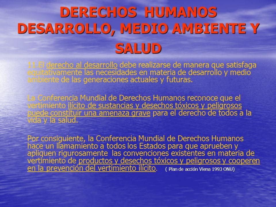 DERECHOS HUMANOS DESARROLLO, MEDIO AMBIENTE Y SALUD