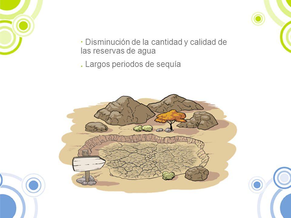 · Disminución de la cantidad y calidad de las reservas de agua