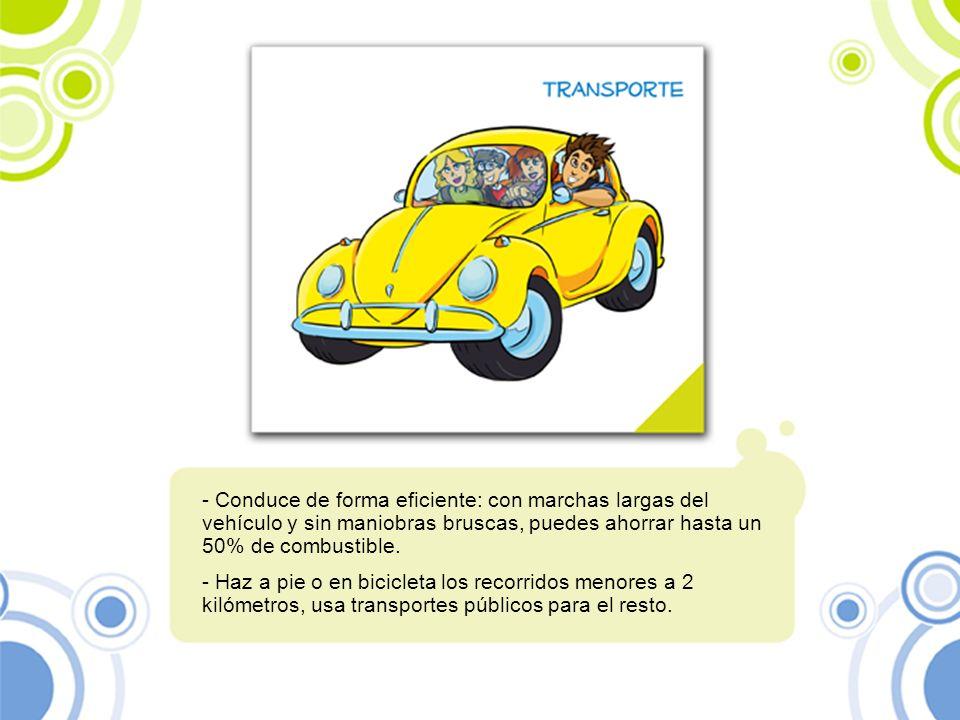 Conduce de forma eficiente: con marchas largas del vehículo y sin maniobras bruscas, puedes ahorrar hasta un 50% de combustible.