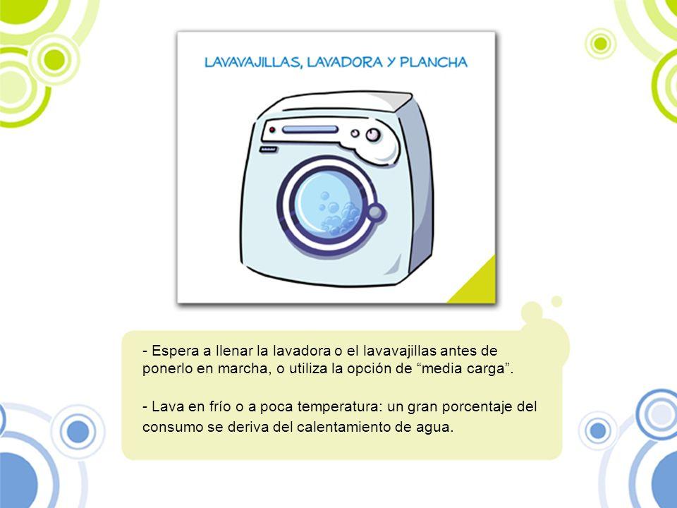 Espera a llenar la lavadora o el lavavajillas antes de ponerlo en marcha, o utiliza la opción de media carga .