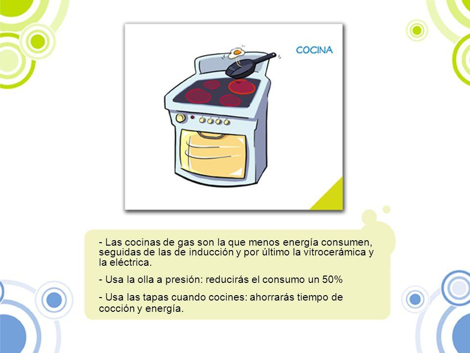 Las cocinas de gas son la que menos energía consumen, seguidas de las de inducción y por último la vitrocerámica y la eléctrica.
