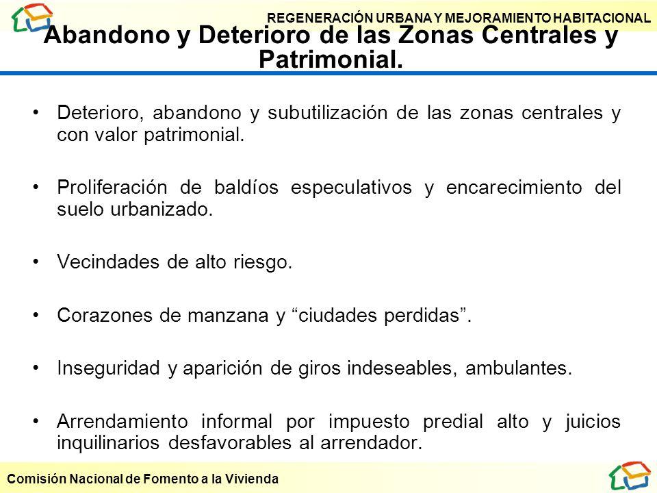 Abandono y Deterioro de las Zonas Centrales y Patrimonial.