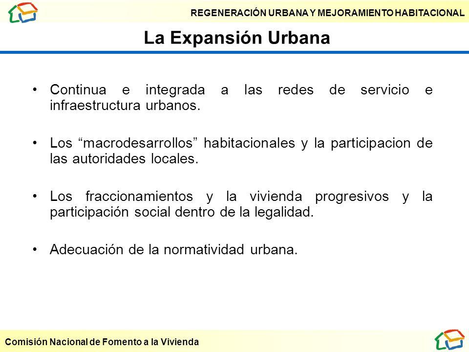 La Expansión Urbana Continua e integrada a las redes de servicio e infraestructura urbanos.
