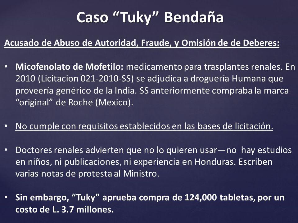 Caso Tuky Bendaña Acusado de Abuso de Autoridad, Fraude, y Omisión de de Deberes: