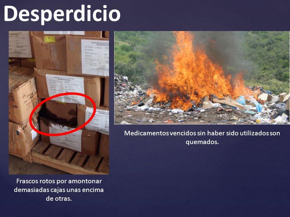 Desperdicio Medicamentos vencidos sin haber sido utilizados son quemados.