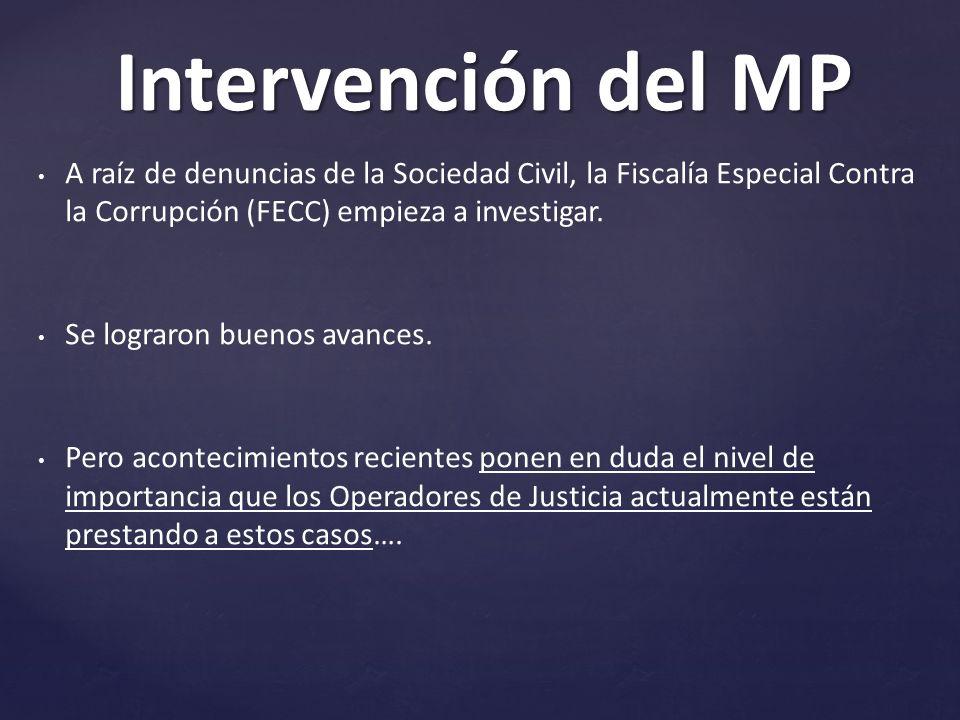Intervención del MP A raíz de denuncias de la Sociedad Civil, la Fiscalía Especial Contra la Corrupción (FECC) empieza a investigar.