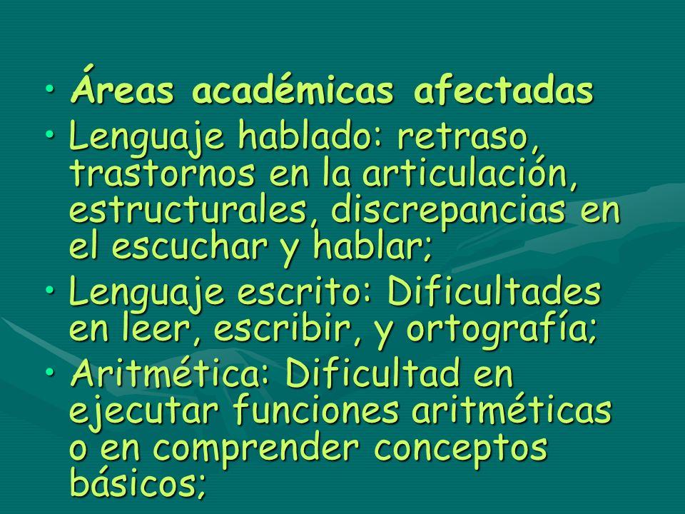 Áreas académicas afectadas