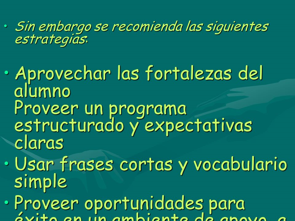 Usar frases cortas y vocabulario simple