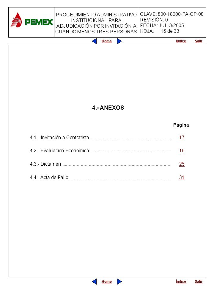 16 de 33 4.- ANEXOS. Página. 4.1.- Invitación a Contratista.............................................................. 17.