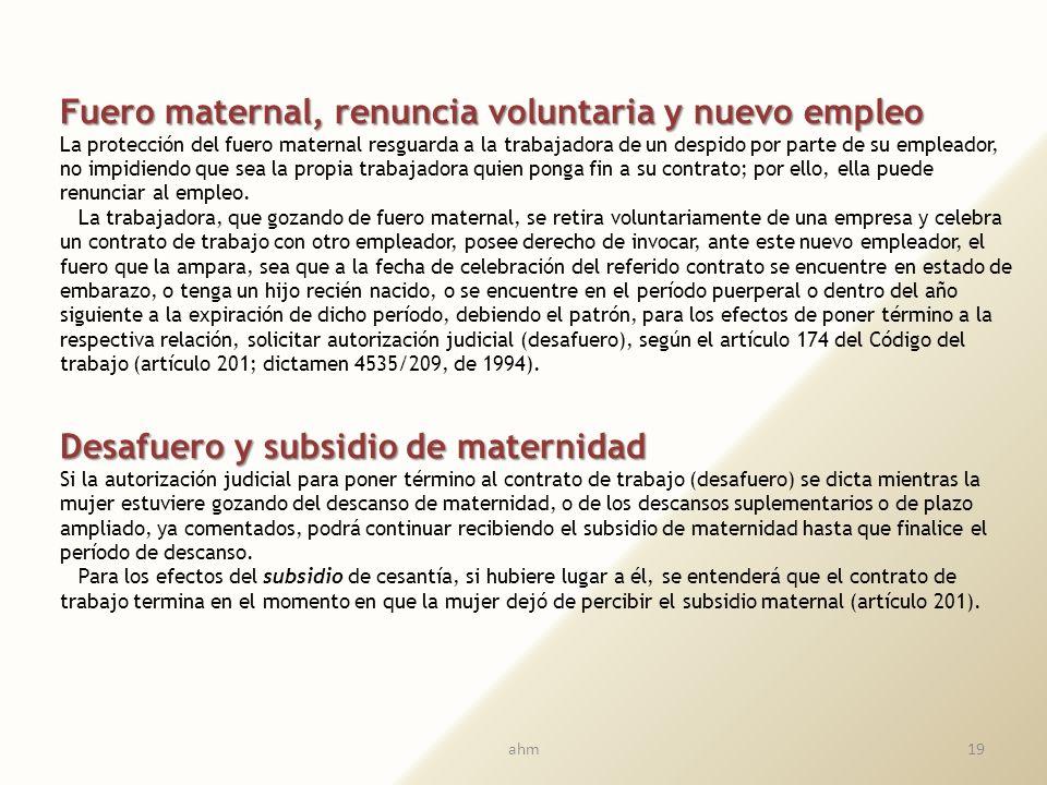 Fuero maternal, renuncia voluntaria y nuevo empleo