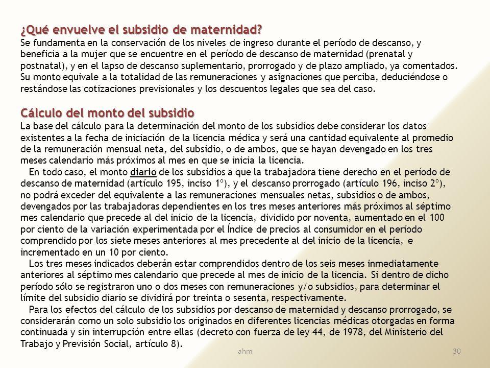 ¿Qué envuelve el subsidio de maternidad