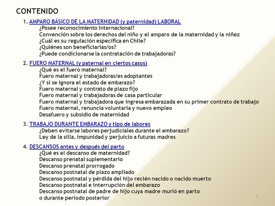 CONTENIDO 1. AMPARO BÁSICO DE LA MATERNIDAD (y paternidad) LABORAL