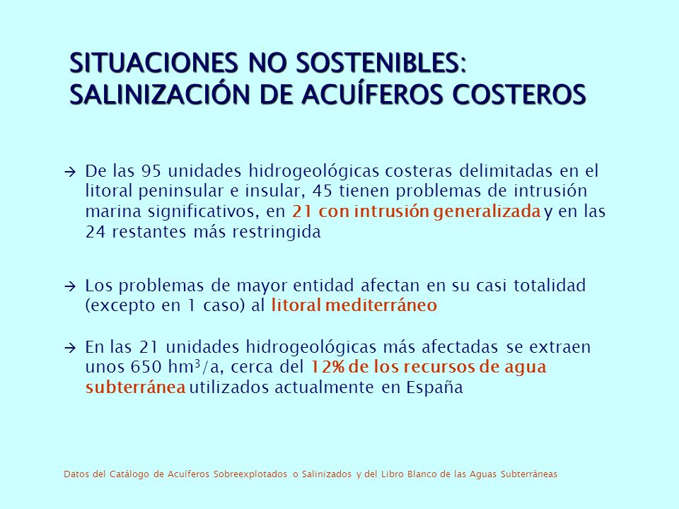 SITUACIONES NO SOSTENIBLES: SALINIZACIÓN DE ACUÍFEROS COSTEROS