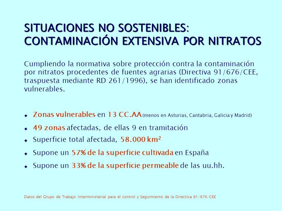 SITUACIONES NO SOSTENIBLES: CONTAMINACIÓN EXTENSIVA POR NITRATOS
