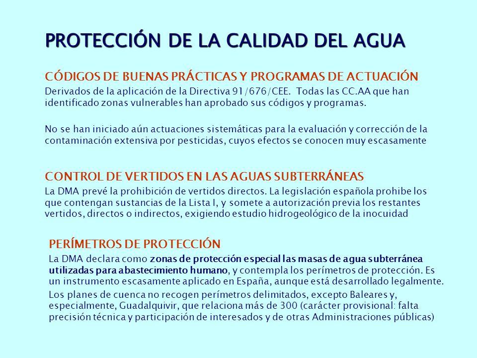 PROTECCIÓN DE LA CALIDAD DEL AGUA