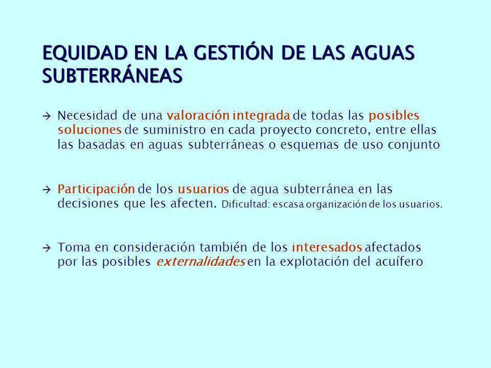 EQUIDAD EN LA GESTIÓN DE LAS AGUAS SUBTERRÁNEAS