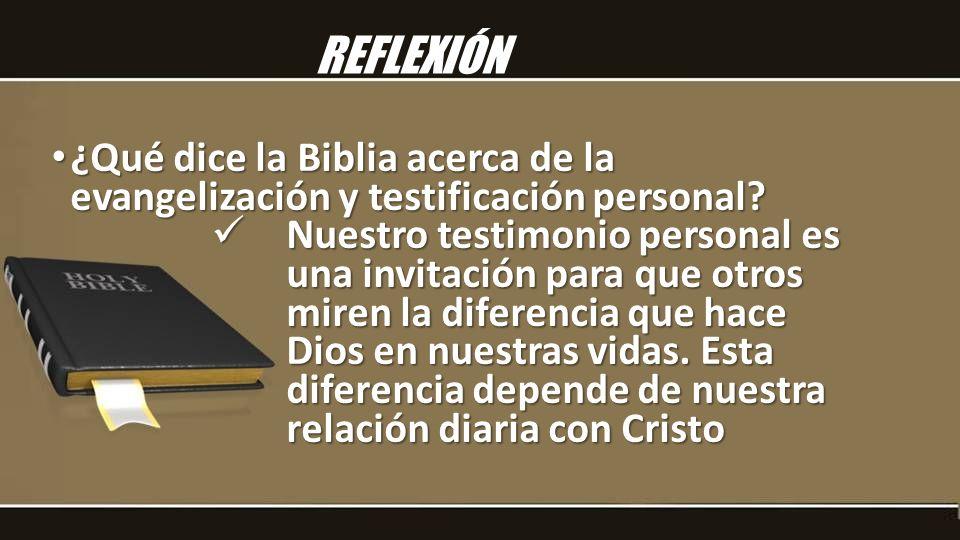REFLEXIÓN ¿Qué dice la Biblia acerca de la evangelización y testificación personal