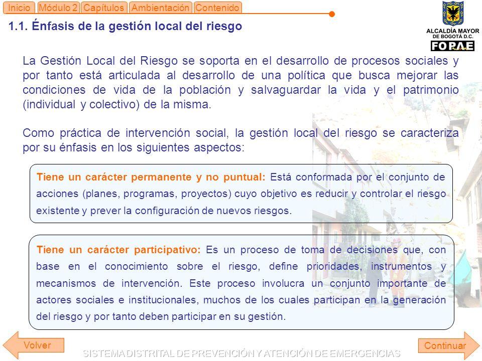 1.1. Énfasis de la gestión local del riesgo