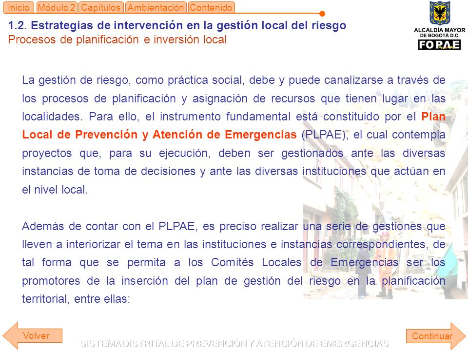 1.2. Estrategias de intervención en la gestión local del riesgo