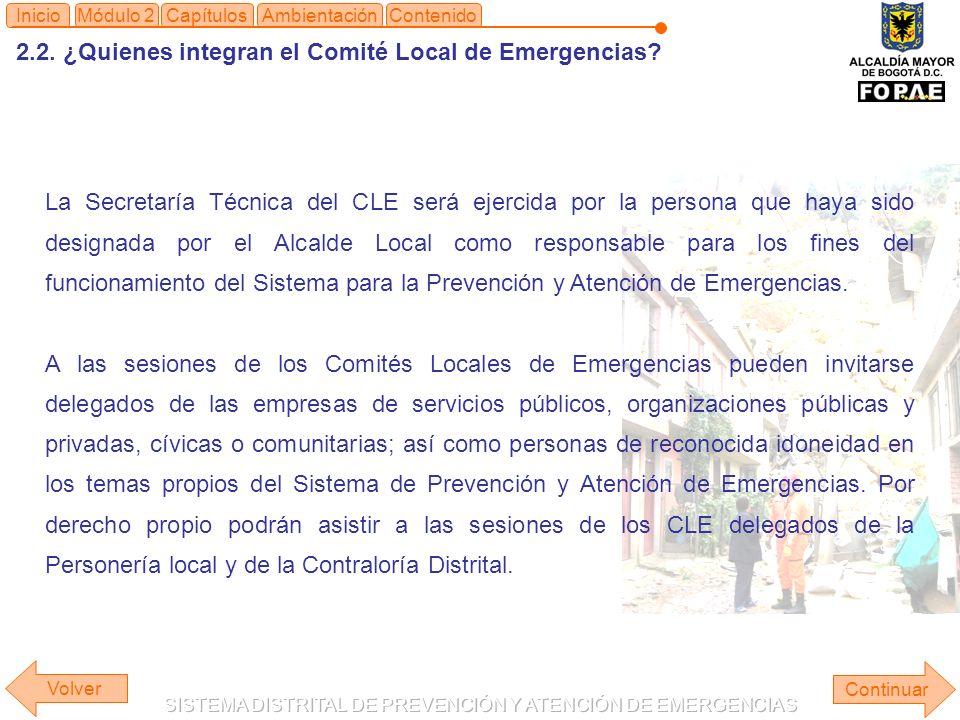 2.2. ¿Quienes integran el Comité Local de Emergencias