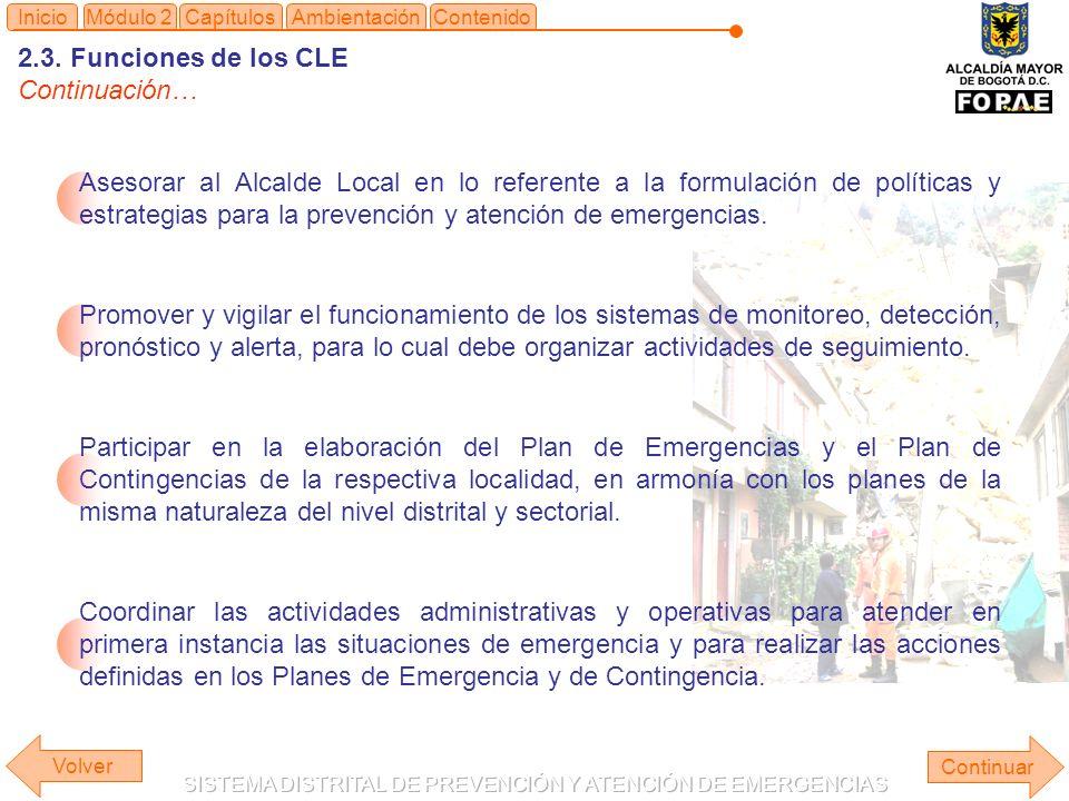 2.3. Funciones de los CLE Continuación…