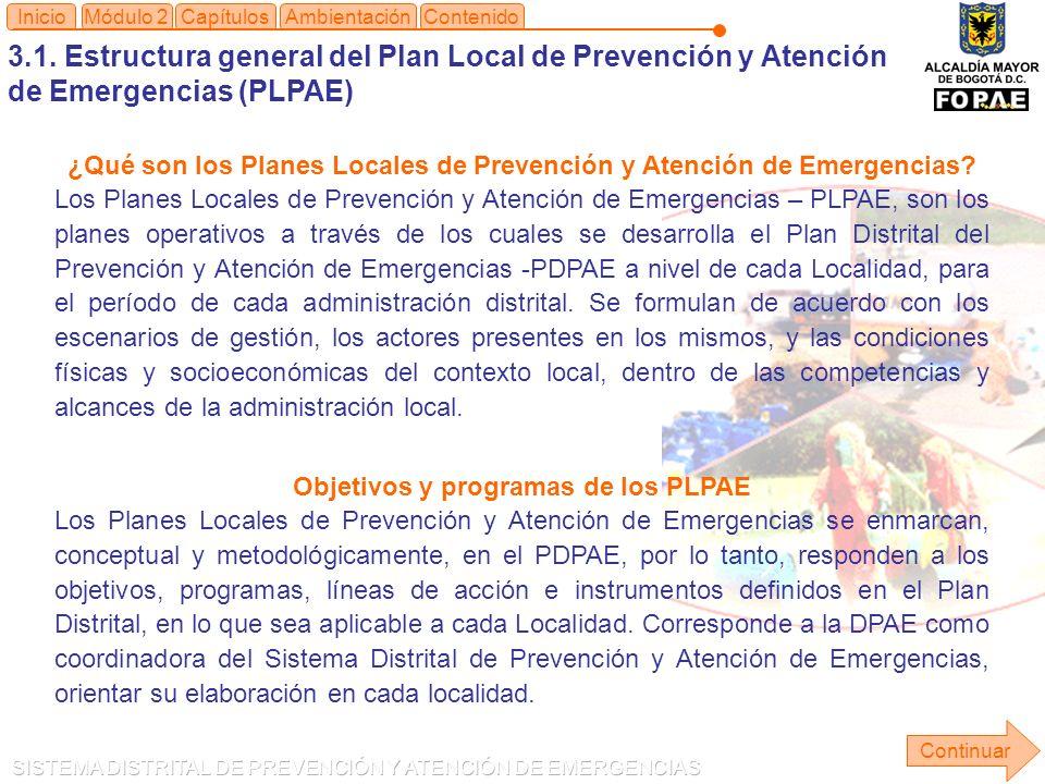 Objetivos y programas de los PLPAE