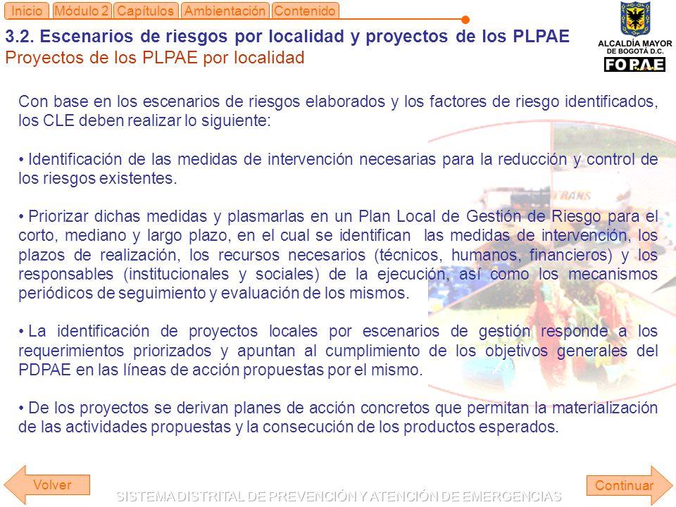3.2. Escenarios de riesgos por localidad y proyectos de los PLPAE