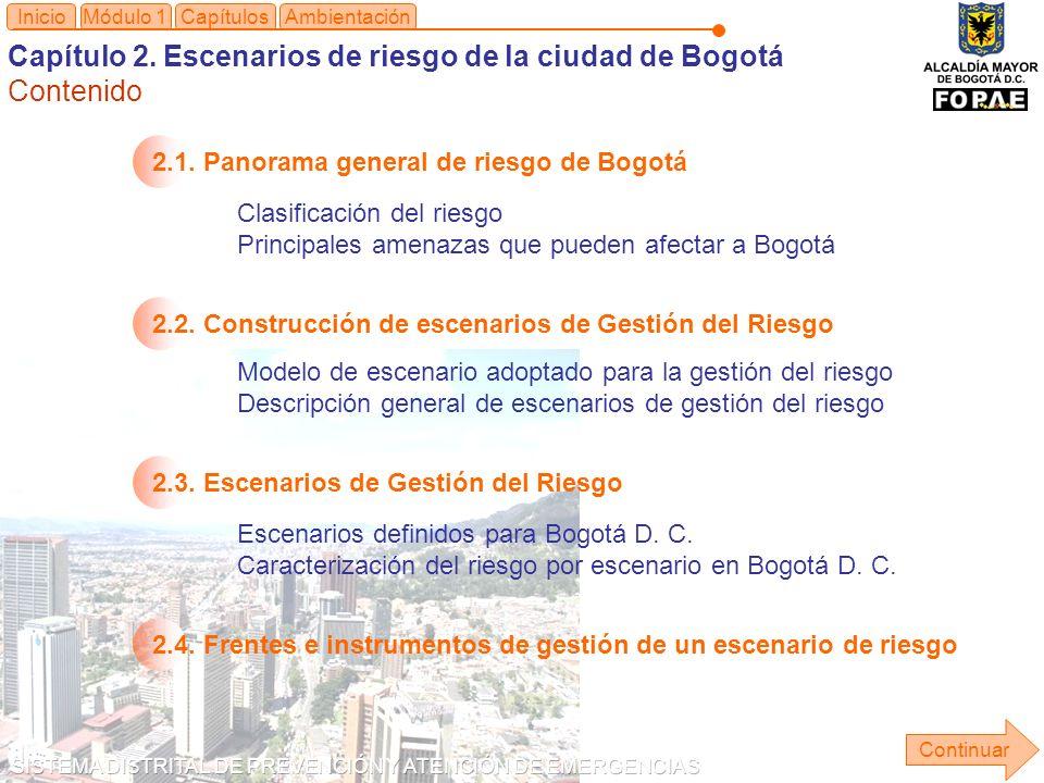 Capítulo 2. Escenarios de riesgo de la ciudad de Bogotá Contenido
