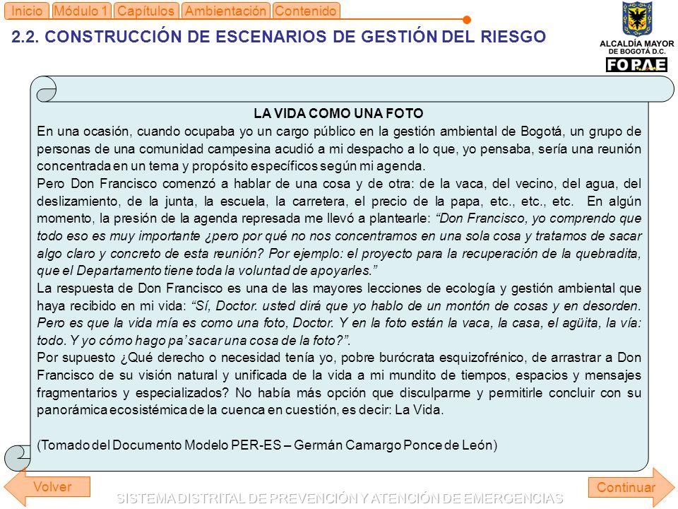 2.2. CONSTRUCCIÓN DE ESCENARIOS DE GESTIÓN DEL RIESGO