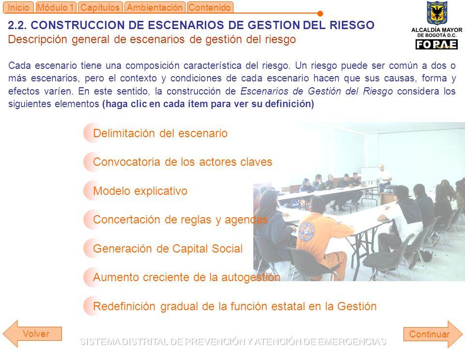 2.2. CONSTRUCCION DE ESCENARIOS DE GESTION DEL RIESGO