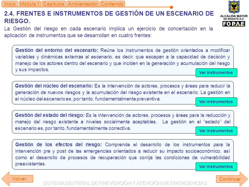 2.4. FRENTES E INSTRUMENTOS DE GESTIÓN DE UN ESCENARIO DE RIESGO.