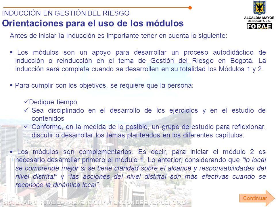 Orientaciones para el uso de los módulos