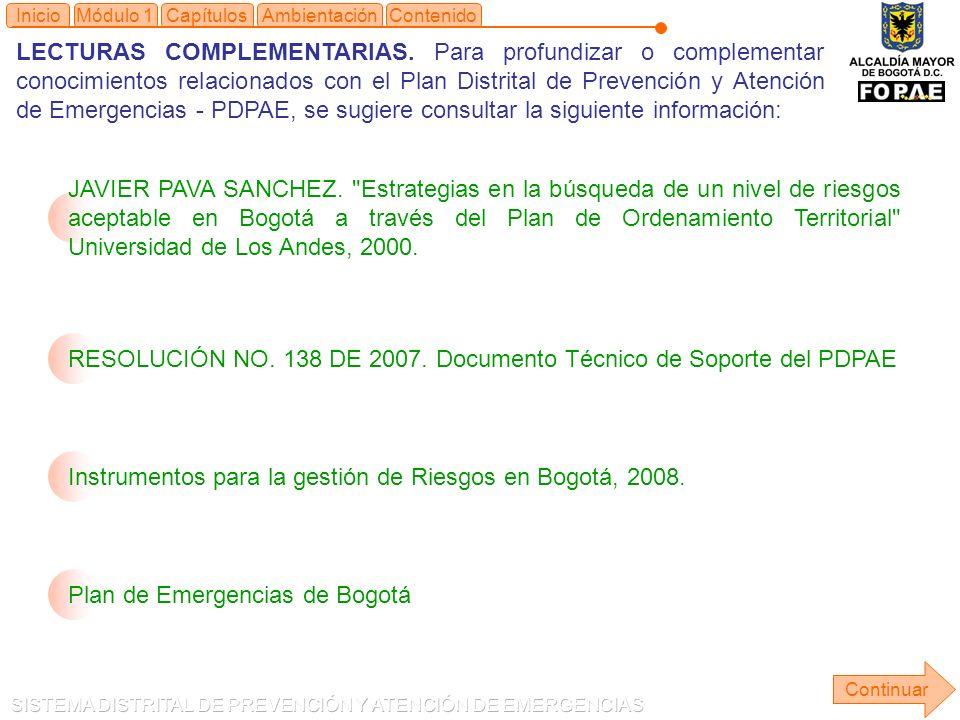 RESOLUCIÓN NO. 138 DE 2007. Documento Técnico de Soporte del PDPAE
