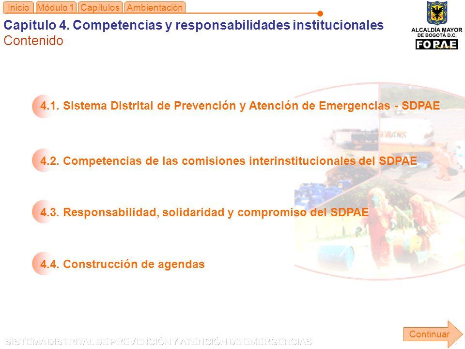 Capitulo 4. Competencias y responsabilidades institucionales Contenido